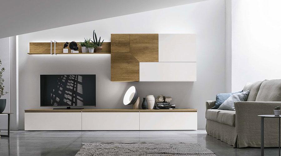 Composizione Tomasella A109 per soggiorni con mobili contenitori