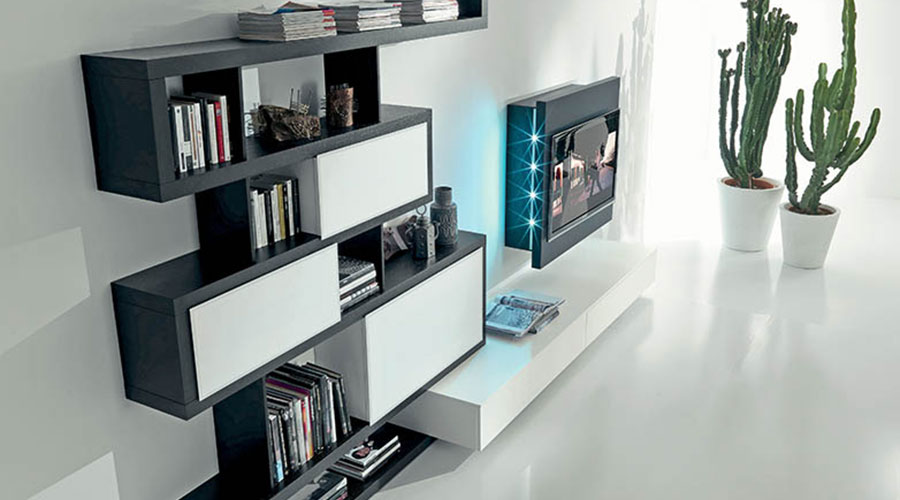 Soggiorno di design Fimar Side 9 con porta TV Rack orientabile