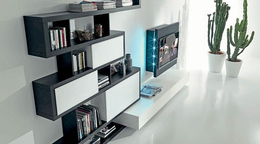 Soggiorno di design Fimar Side 9 con porta TV Rack orientabile